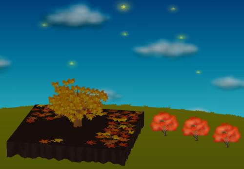 光るカエデの木A 赤 設置例
