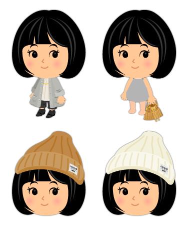 ロングカーデ&クロップド・フリンジバッグキャメル・リブニット帽キャメル・リブニット帽白