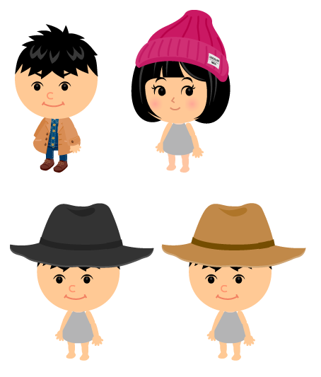 チェスターコート&パンツ・リブニット帽ピンク・メンズ中折れ帽黒・メンズ中折れ帽キャメル