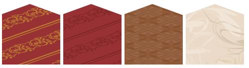 カーペット唐草金×赤・カーペット唐草濃赤×赤・フローリング寄木模様・床 大理石アイボリー