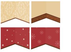 壁紙 ゴシック茶・コンビ壁レンガ・壁紙八芒星赤・壁紙雪の結晶赤