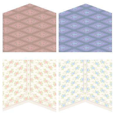 ローズカーペットピンク・ローズカーペットブルー・ローズ壁紙ピンク・ローズ壁紙ブルー