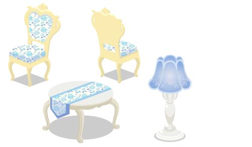 ローズ布張チェアブルー・ローズ布張チェアブルー背・ローズ猫足テーブルブルー・ローズフロアランプブルー