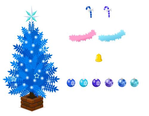電飾ツリー青・ステッキ青・ステッキ紫・モールピンク・モールブルー・ミニベル・クーゲル青1・クーゲル青2・クーゲル青3・クーゲル青4・クーゲル青5・クーゲル青6