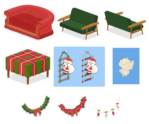 ゴージャスソファ赤×金・モダンソファ緑・モダンソファ緑背・クロス付テーブル赤×緑・はしごサンタ緑・はしごサンタ白・エンジェル飾り・ガーランドひいらぎ・ガーランドポインセチア・ガーランド雪だるま