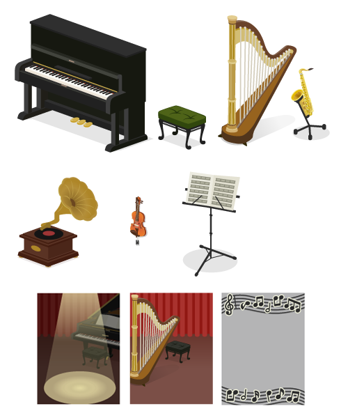 アップライトピアノ・クラシックスツール緑・グランドハープ・サックススタンド付・蓄音機・壁掛バイオリン大・譜面台・背景:演奏会ピアノ・背景:演奏会ハープ・音符フレーム