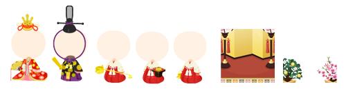 お雛様衣装セット・お内裏様衣装セット・三人官女長柄衣装セット・三人官女三方衣装セット・三人官女提子衣装セット・背景:ひな壇・ひな祭りフレーム