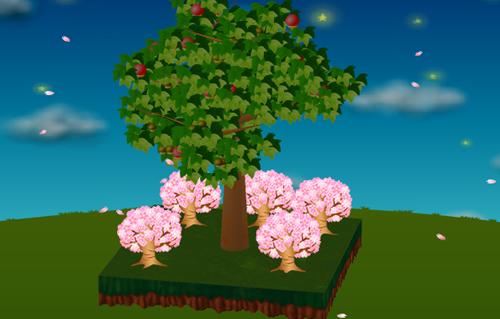 光る桜の木 濃ピンク 設置例