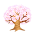 光る桜の木 薄ピンク