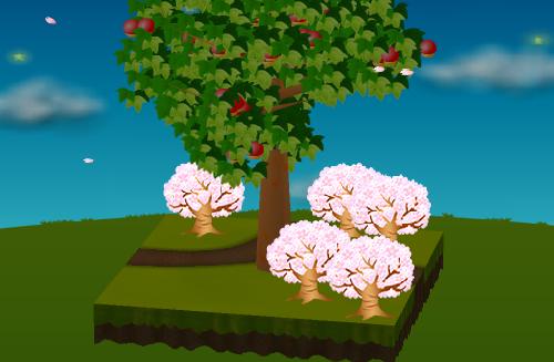 光る桜の木 薄ピンク 設置例