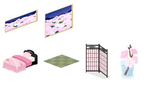 花霞夜の窓小・花霞夜の窓大・黒塗桜ベッド・ユニット畳・黒塗桜スクリーン・グラス入り桜の枝
