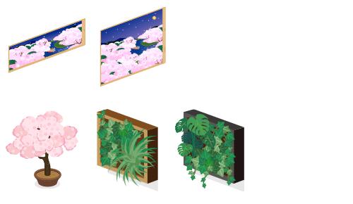 桜が淵夜の窓小・桜が淵夜の窓大・桜の木鉢植特大・壁掛け観葉植物茶・壁掛け観葉植物黒