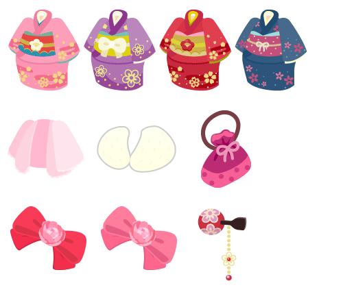 着物 ピンク・着物 紫・着物 赤・着物 青・羽織 薄ピンク・ファーショール・巾着 ピンク・髪飾りリボンルビー・髪飾りリボンローズ・かんざし 赤