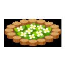 丸太の花壇円 白