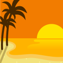 背景:夕暮れハワイビーチ