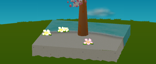プルメリアの庭飾り 白/白2輪/ピンク 設置例