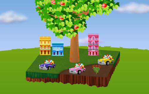 南米アパートA/B/C、クラシックカープランター ピンク/黄/青、トウガラシ 設置例