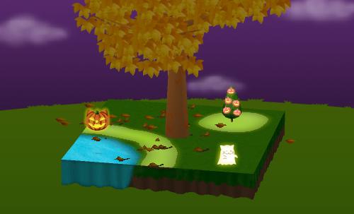 ハロウィンブッシュA かぼちゃ ピンク/ゴーストA ネコミミ/浮遊猫かぼちゃ 設置例