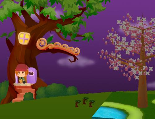コイコイハロウィンの森の木A 設置例(夜)