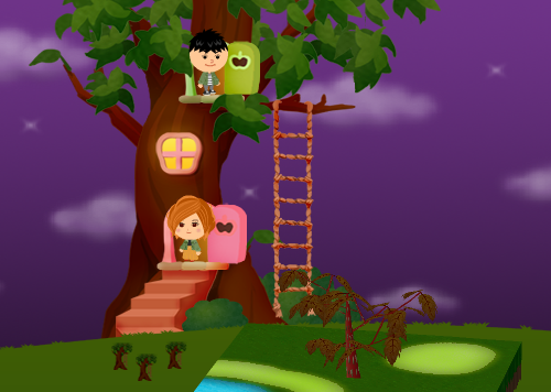 コイコイハロウィンの森の木B 設置例(夜)