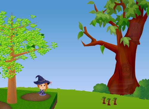 コイコイハロウィンの森の木D 設置例(昼)