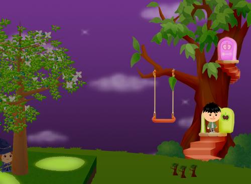 コイコイハロウィンの森の木D 設置例(夜)