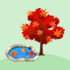紅葉の木と池