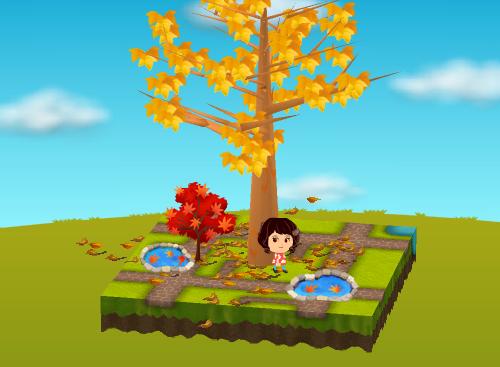 紅葉の木と池、紅葉が浮いた池 設置例