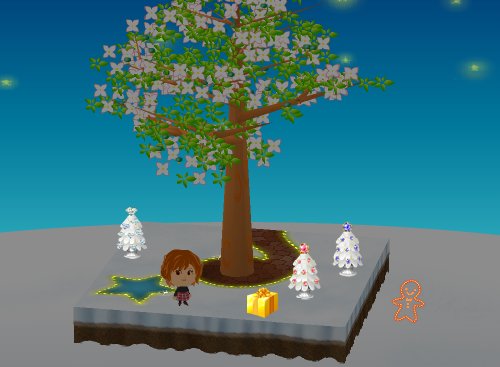 チカチカステッカー ジンジャーマン、金のクリスマスプレゼント、クリスマスツリー ダイヤ/ルビー/サファイア 設置例