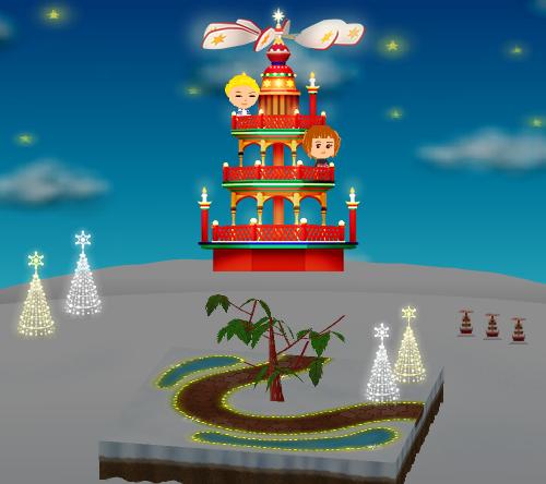 コイコイ丘のクリスマスピラミッド、イルミネーションB 星 金(庭)/(大地)、イルミネーションB 星 銀(庭)/(大地) 設置例