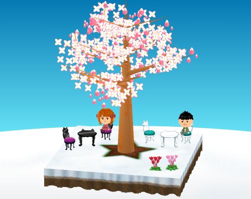 丈夫な猫足テーブル(各種)、猫足チェア(各種)、ガーデンシクラメン(各種) 設置例