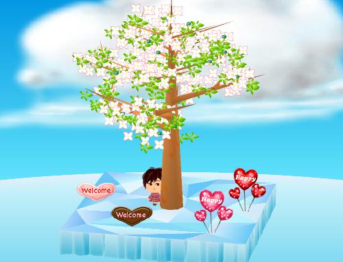 ハートバルーン 赤/ピンク、ウェルカム板 ハート チョコ/キャンディ 設置例(昼)