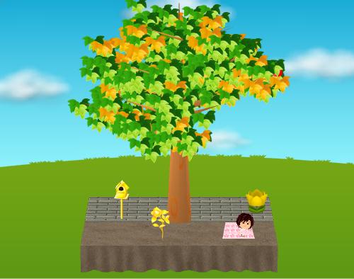 金の一輪椿、金の鳥の巣箱、ひょっこりチューリップ 黄、お花見ごろ寝マット ピンク 設置例