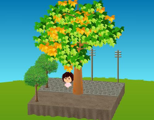 街路樹、レトロな電柱 設置例
