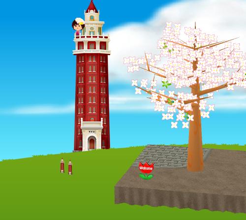 コイコイ凌雲閣タワー、ウェルカム板 チューリップ 設置例