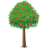 赤い花の咲いた街路樹