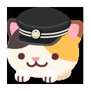 頭のせ学帽三毛猫