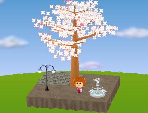 白い鳥の噴水、二つ玉の街灯 設置例