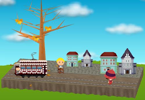 レトロ路面花電車、レトロな建物(各種)、レトロな椅子 右向き 設置例